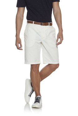 Ascot By Westside White Pure Cotton Slim Fit Shorts With Belt