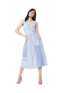 AND Blue & White Printed Midi Dress