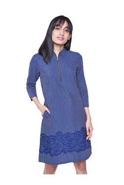 AND Navy & White Striped Knee Length Dress