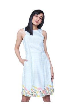 AND Blue & White Striped Knee Length Skater Dress