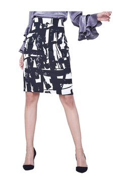 AND Black & White Printed Pencil Skirt