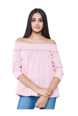 AND Pink & White Off Shoulder Top