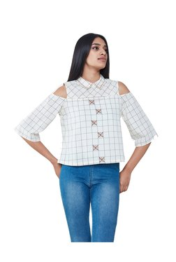 AND Off White Checkered Cold Shoulder Crop Top