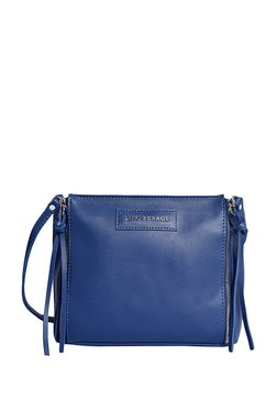 Lino Perros Royal Blue Solid Shoulder Bag With Pouch