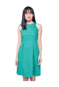 AND Green Textured Knee Length Dress