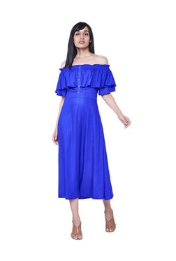 AND Royal Blue Off Shoulder Midi Dress