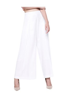 AND White Regular Fit Wide Leg Trousers