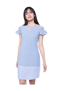 AND Blue Above Knee Cold Shoulder Dress
