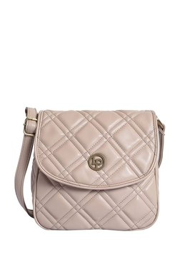 Lino Perros Beige Stitched Quilted Flap Sling Bag