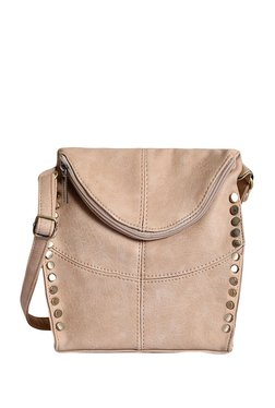 Lino Perros Beige Riveted Sling Bag