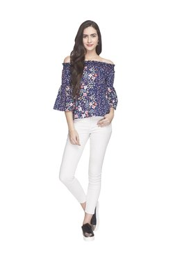 Globus Navy Floral Print Off Shoulder Top