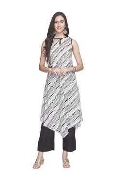 Globus Off White & Black Printed Kurta