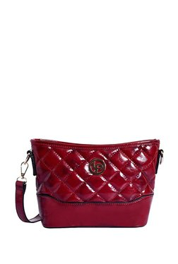 Lino Perros Dark Red Quilted Sling Bag