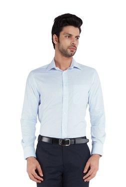 Park Avenue Light Blue Striped Full Sleeves Shirt