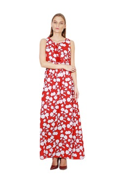 Van Heusen Red & White Floral Print Maxi Dress