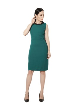 Van Heusen Green Embellished Knee Length Dress