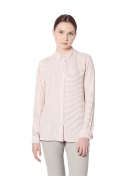 Van Heusen Peach & White Striped Shirt