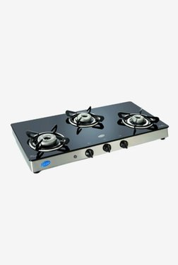 Glen GL 1038 GT AI 3 Burner Automatic Ignition Gas Cooktop (Black/Silver)