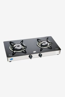 Glen GL 1021 GTAL 2 Burner Gas Cooktop (Black/Silver)