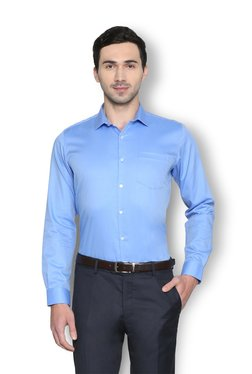 Van Heusen Light Blue Slim Fit Cotton Solid Shirt