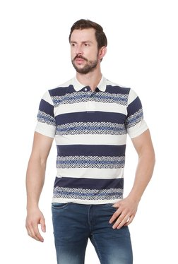 Peter England Navy & White Half Sleeves Polo T-Shirt