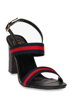 Red Pout Black & Red Back Strap Sandals