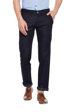 Killer Black Mid Rise Slim Fit Flat Front Trousers
