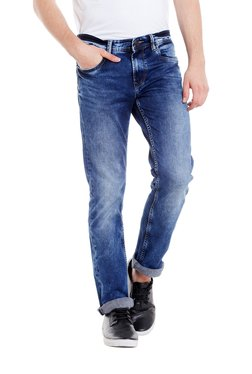 Easies Blue Lightly Washed Mid Rise Slim Fit Jeans