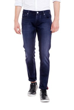 Integriti Dark Blue Lightly Washed Mid Rise Slim Fit Jeans