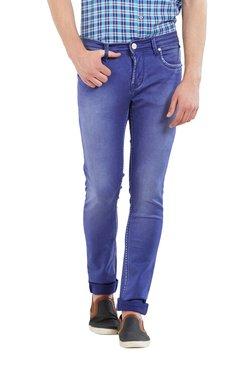 Lawman Dark Blue Solid Mid Rise Slim Fit Jeans