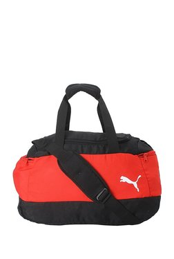 Puma Pro Training II Red & Black Color Block Polyester Gym Bag