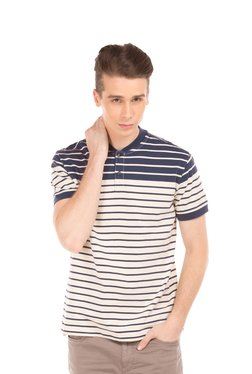 Nautica Navy & Off White Half Sleeves Striped T-shirt