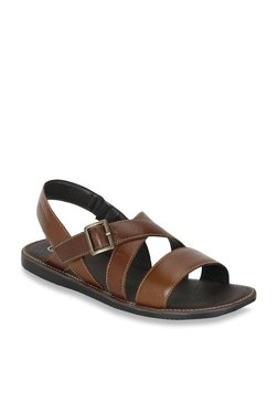 Red Tape Dark Tan Cross Strap Sandals