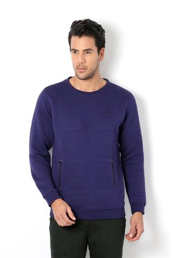 Van Heusen Ink Blue Crew Neck Regular Fit Sweatshirt