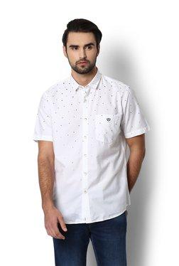 Van Heusen White & Black Printed Half Sleeves Slim Fit Shirt