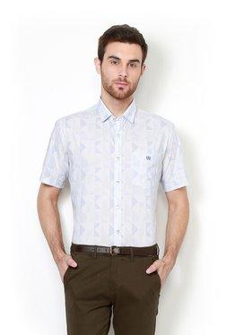 Van Heusen White & Blue Printed Half Sleeves Slim Fit Shirt