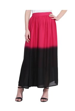 Juniper Pink & Black Georgette Tie & Dye Maxi Skirt