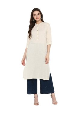 Juniper Off White Regular Fit Cotton Kurta
