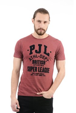 Pepe Jeans Maroon Round Neck Slim Fit T-Shirt