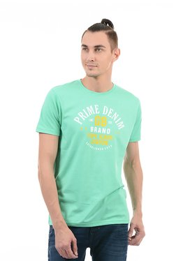 Pepe Jeans Mint Green Regular Fit Printed T-Shirt