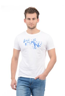 Pepe Jeans White & Blue Slim Fit Cotton T-Shirt