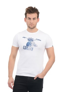 Pepe Jeans White Cotton Printed Half Sleeves T-Shirt