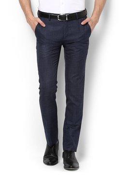 Van Heusen Navy Solid Mid Rise Trousers