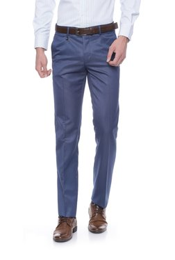 Van Heusen Steel Blue Solid Slim Fit Trousers