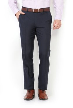 Van Heusen Navy Solid Slim Fit Trousers