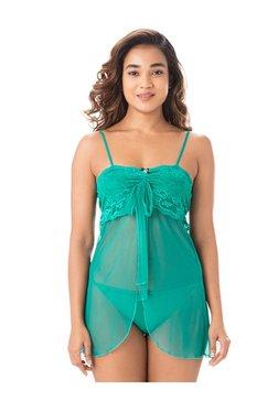 PrettySecrets Green Lace Nylon Babydoll