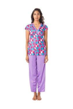 PrettySecrets White & Purple Polyester Top & Pyjama Set
