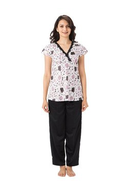 PrettySecrets White & Black Polyester Top & Pyjama Set