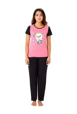 PrettySecrets Rose Pink & Black Cotton Top & Pyjama Set