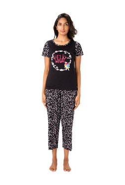 PrettySecrets Black Graphic Print Cotton Top & Capri Set